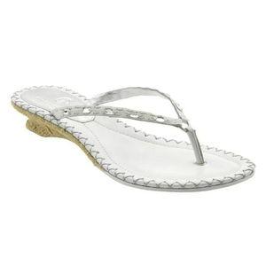 Cole Haan White Thong Wedge Sandal. 8M.